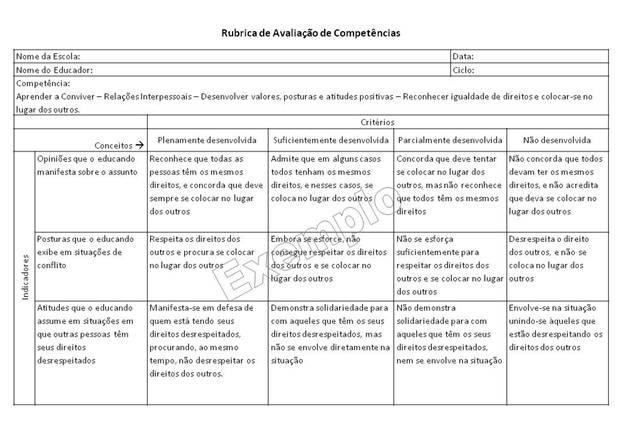 Avaliação de Competências na Escola: Instrumentos, Indicadores, Critérios, Conceitos